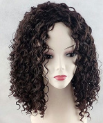 Wigbuy Short Wet Wavy Curly African American Wigs Heat Resistant Fibre Layered for Black Women Black Hair Wig Kinky Curly Afro Wigs with Bangs