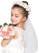 Girls First Communion White Floral Wreath Veil,White