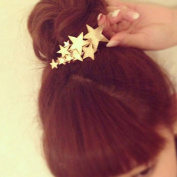 A & C Vintage Gold Colour Star Hair Clips for Women, Fashion Flowers Headwear for Girl.