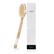 BATH BRUSH - EXTRA LONG HANDLE 46cm + Natural Bristles Curved Wooden Shower Brush presented by Rengora. Excellent for Soothing Skin Cleansing, Dry Brushing & Gentle Exfoliating. Upscale Today!