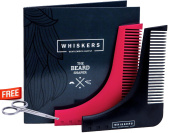 ➡️ Beard Shaping Tool with Scissors and User Guide by Whiskers|The Ultimate Grooming Kit with Shaving Template for Perfect Lines| Comb for Long and Short Beards and a Variety of Styles