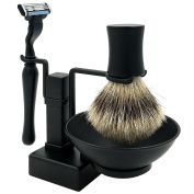 4 in 1 Men's Shaving Set, Luxury Genuine badger brush + Shaving Brush Stand + Safety Razor + Shaving Soap Bowl/Mug Black Finishing, Great Gift Idea for Father Husband or Boyfriend