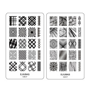 """Ejiubas Double-sided Stamping Plates """"The Abstract Lines"""" Set DIY Nail Art Rectangle Nail Stamping Template 1 Count"""