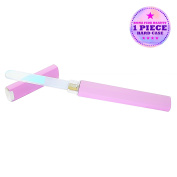 The Unicorn File by Bona Fide Beauty - 1-Piece Titanium Czech Glass Manicure Nail File in Light Purple Hard Case - Gentle Nail Care - File in Any Direction