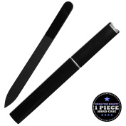 Bona Fide Beauty Czech Glass Nail File - 1-Piece Fine Grit Black Medium Manicure File in Black Hard Case - Gentle Nail Care - File in Any Direction
