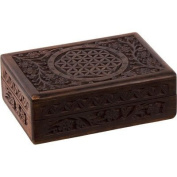 The New Age Source Carved Wood Box Flower of Life by New Age Source