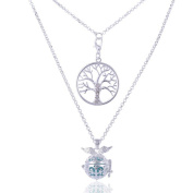 Tree of Life Wing Carved Ball Aromatherapy Essential Oil Diffuser Irregular Pendant 2-Row Lava Rock Necklace