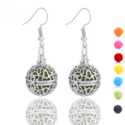 GIONO Filigree Ball Openable Aromatherapy Essential Oil Diffusser Locket Lava Stone Earring Set