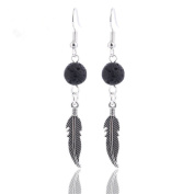 GIONO Black Feather Wing Lava Rock Aromatherapy Essential Oil Diffusser Locket Dangle Earring