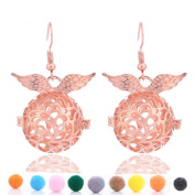 GIONO Filigree Angel Wing Aromatherapy Essential Oil Diffusser Locket Lava Stone Earring Set