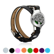 Pusheng Aromatherapy Essential Oil Diffuser Bracelet Tree of Life Stainless Steel Locket Bangle on PU leather Band,Adjustable