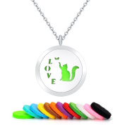 Love Cat Round Aromatherapy Essential Oils Diffuser Necklace-Stainless Steel Locket Pendant with 12 Colourful Pads