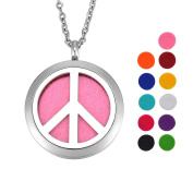 Peace Sign Essential Oil Diffuser Necklace Stainless Steel Locket Pendant with 60cm Chain 11 Refill Pads