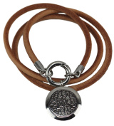 Genuine Leather Essential Oil Diffuser Necklace/Bracelet Wrap with Leakproof Locket - Hypoallergenic 316L Surgical Grade Stainless Steel 25mm Aromatherapy Jewellery 5 Reusable Pads, Microfiber Pouch)