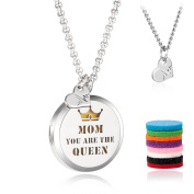 Mother's Day Gift Aromatherapy Essential Oil Diffuser Necklace£¬Stainless Steel Memory Locket with 70cm Chain + 8 Felt Pads