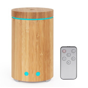 Syntus Essential Oil Diffuser with Remote Control 160ml Real Bamboo Ultrasonic Aromatherapy Diffusers with Colourful Lights, Timer Setting and Waterless Auto Shut-off