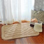 Thickened mats door mats bathroom mats cotton diamond floor mat -6090cm Camel