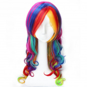 KISS HAIR Cosplay Wigs Synthetic Hair Wigs Red Green Blue Yellow Mixed Colour