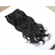 Furice Curly Wave Clip In Hair Extensions Body Wave Virgin Remy Human Hair 46cm Colour Black