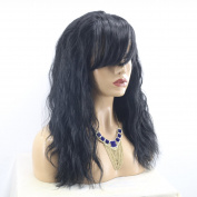 MeiRun Lace Front Human Hair Wig Full Bangs Natural Black Colour Baby Hair Around Bleached Knots