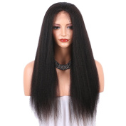 LiyaHair Kinky Straight Lace Front Wig Yaki Straight Synthetic Hair Wigs with Baby Hair 160 Density Free Part for Black Women