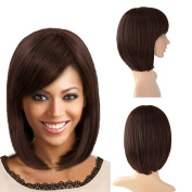Beauty Angelbella 160g Synthetic Straight Short Bob Hair Wig with Inclined Bangs for Women Three Colours Available
