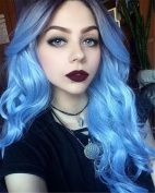 ATOZWIG 1B#Ombre Blue Two Tone Colour Short Dark Root Natural Body Wave Heat Resistant Body Wave Synthetic Wig