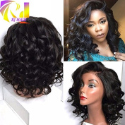Hotsale Short Wavy Bob Lace Front Human Hair Wigs For Black Women Glueless Left Side Bob Lace Wig Virgin Brazilian Hair