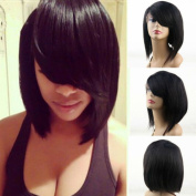 Wigsforyou Straight Short Bob Wig Synthetic Lace Front Wigs with Bangs for Black Women