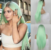 Wigsforyou Long Straight Ombre Mint Green Colour Synthetic Wigs Cosplay Wig for Women