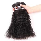 Eullair Curly Brazilian Virgin Human Hair Weft 3 Bundles (10 12 30cm ) 100% Unprocessed Remy Hair Weave (100+/-5g)/pc) Natural Colour