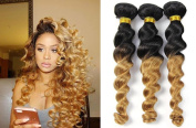 Top Hair Loose Wave Peruvian Hair 3 Bundles,Wavy 1B/27 Peruvian Virgin Hair Curly Weave 2 Tone Ombre Hair Extensions Human Hair Bundles Black To Blonde
