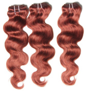 "HAIQUAN 12""14""16"" Colour 33# 3 Bundles 300g Brazilian Virgin Human Hair Body Wave Burgundy Human Hair Weaves"