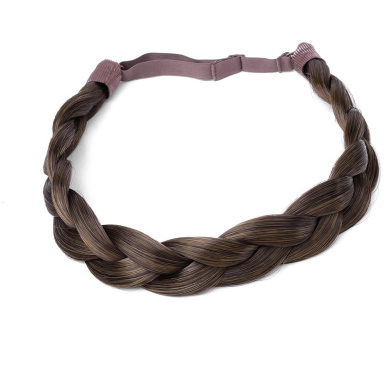 Ty.Hermenlisa Chunky Synthetic Hair Braided Headband Classic Wide Braids Elastic Stretch Hairpiece Women Beauty accessory, 55g, Chestnut Brown