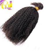 RJ Hair Braiding Hair Bulk No Weft Afro Kinky Curly Bulk Hair For Braiding Mongolian Afro Kinky Human Hair 100g Per Bundle