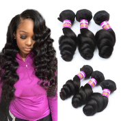 Longjia Hair Brazilian Loose Wave Hair 3 Bundles Unprocessed brazilian Loose Deep Wave Virgin Human Hair Extensions Natural Black