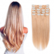 Clip in 100% Remy Human Hair Extensions 25cm - 60cm Grade 7A Quality Full Head 8pcs 18clips Long Soft Silky Straight for Women Fashion 50cm / 50cm 105g ,#27 Dark Blonde