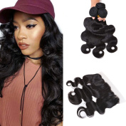 8A Peruvian Body Wave 3 Bundles with Frontal Ear to Ear Lace Frontal Closure with Bundles Peruvian Virgin Hair with Closure Human Hair Extensions Lace Frontal with Baby Hair
