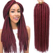 46cm 24strands 100g Dread Faux Locs Synthetic Braiding Hair Extension High Temperature Fibre Crochet Braid For Women 6pcs