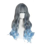 DAYISS Women's Long Curly Wavy Full Wig Hair Glamour Cosplay Heat Resistant Glamour Lady Neat Bangs Blue Ombre