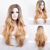 DAYISS Women's Long Curly Wavy Full Wig Hair Glamour Cosplay Heat Resistant Glamour Lady Brown Ombre