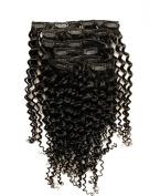 KEYU Brazilian Human Hair Kinky Curly Hair Extensions Clip in 7Pcs/Set 70g Colour Natural Black