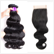 Shengqi Hair 10A Remy Brazilian Human Hair Body Wave 3 Bundles with One Lace Closure Virgin Human Hair Weft Extensions