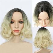 DAYISS Women's Short Curly Wavy Full Wig Cosplay Heat Resistant Side Bangs Costume Hair Black Blonde Gradient