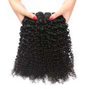Longjia Brazilian Curly Hair Product 3 Bundles Natural Black Colour 100% Unprocessed Virgin Human Hair Extensions Very Soft and No Shedding