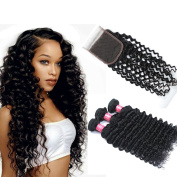 Longjia hair 7A Brazilian Deep Wave Virgin Hair 3 Bundles with Closure Unprocessed Brazilian Virgin Hair With 4x4 Lace Closure Huma Hair Extensions