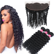Longjia Hair 7A Brazilian Deep Curly Wave 3 Bundles With Lace Frontal Closure 13x4 Ear To Ear Frontal With Baby Hair Brazilian Human Hair Extensions