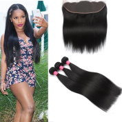 Longjia Hair Brazilian Straight 3 Bundles With Frontal Lace Frontal Closure with Bundles Full Lace Frontal Closure Ear to Ear (13x4)