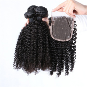 Furice 10A Curly Weave Brazilian Human Hair 3 Bundles With Closure 1B Natural Black 10/12/14/16/18/20/22/24/2.4cm