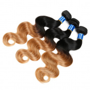 7A Grade Ombre Brazilian Virgin Hair 3 Bundles Body Wave 2 Tones Human Hair Weave Bundles Ombre Brazilian Body Wave T1b/27
